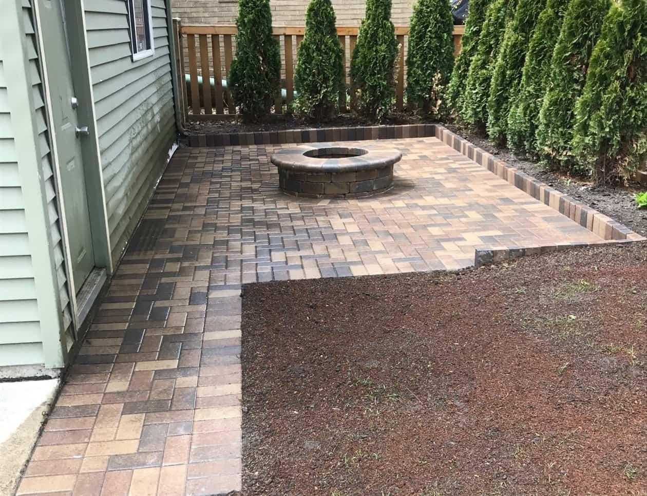 brick patio firepit